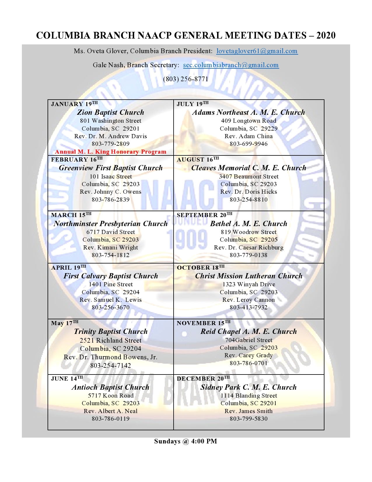 Yearly General Meeting Dates and Places